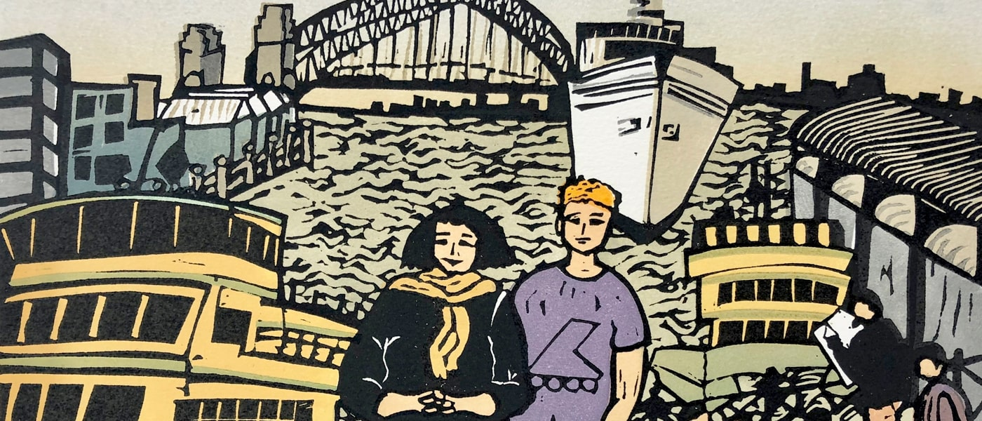 Linocut art by Aileen Brown